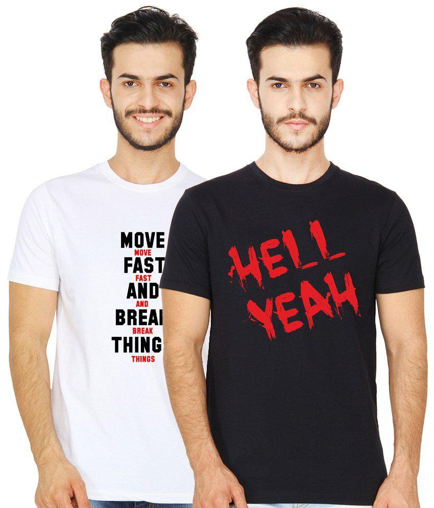 United Squares Trendy Pack of 2 White & Black Round Neck T Shirts for Men