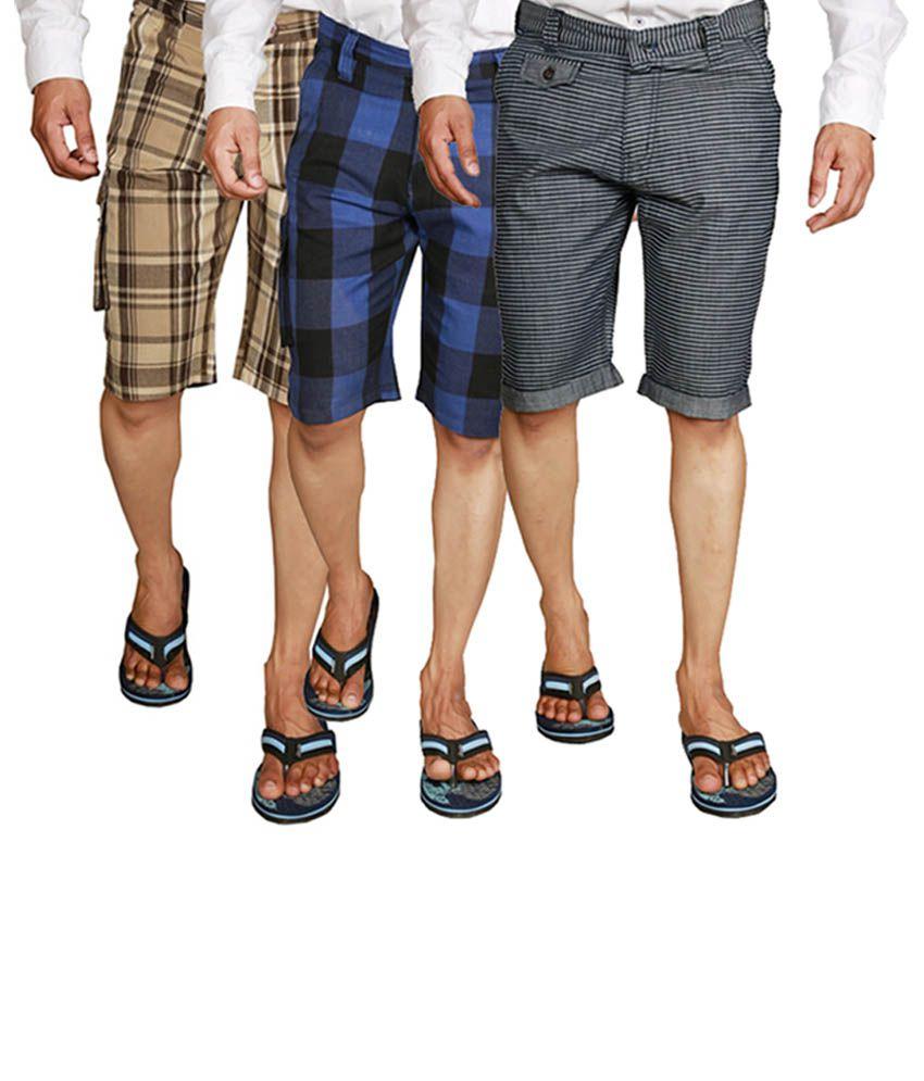 Wajbee Navy Blue, Brown& Black Cotton Men's Cargo Shorts (Pack of 3)