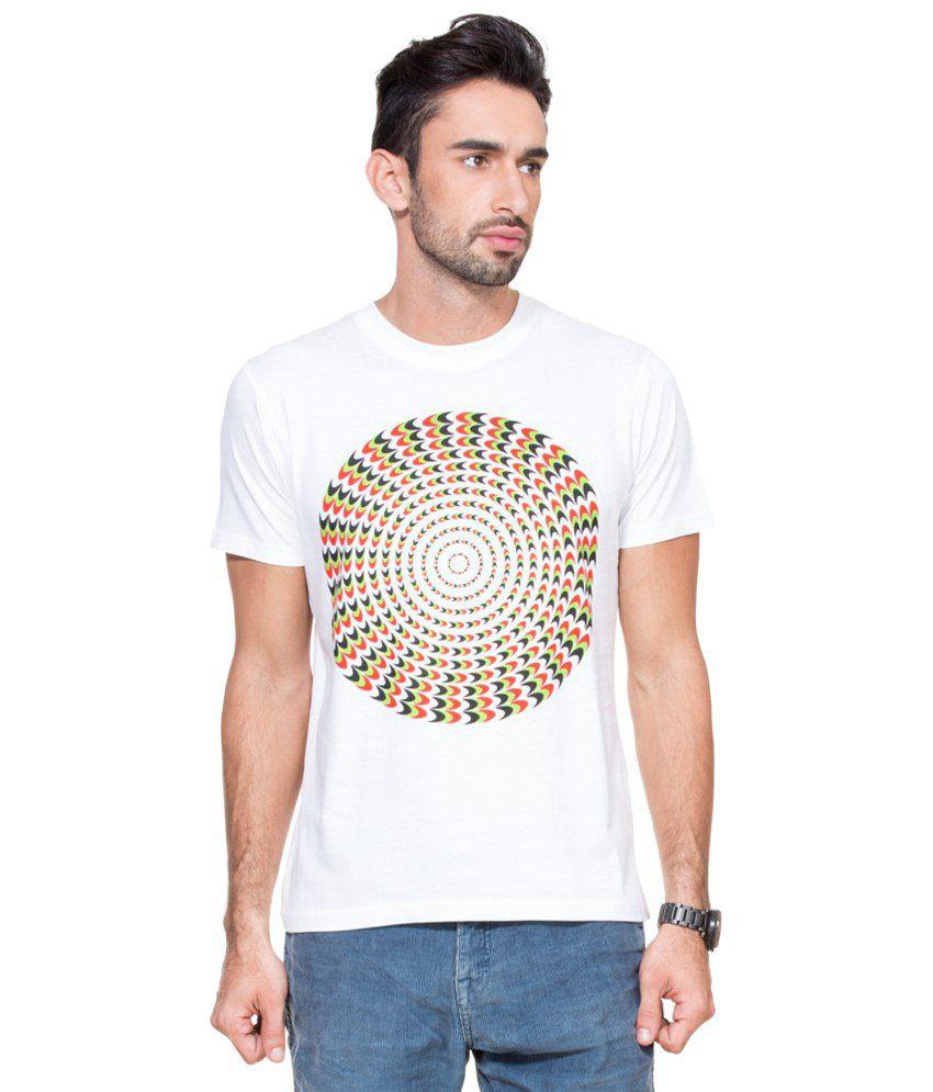 Zovi Illusion Spiral White Graphic T-shirt