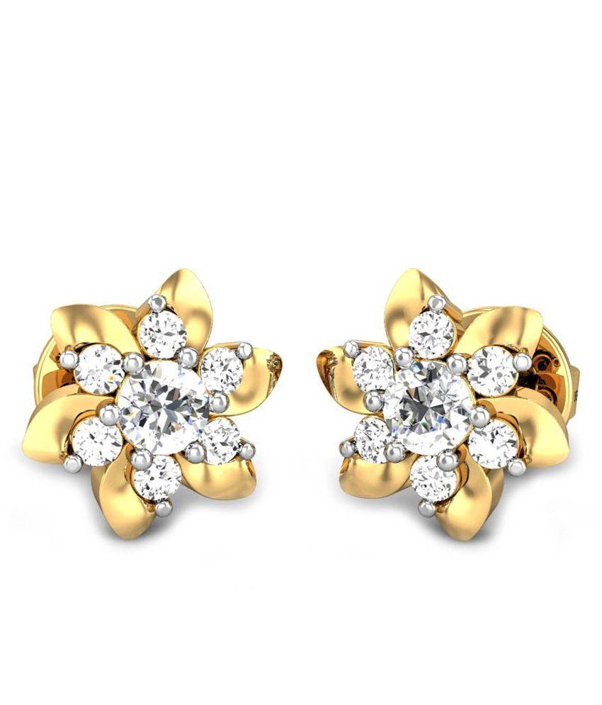 Candere Rishita Diamond Earrings Yellow Gold 18K