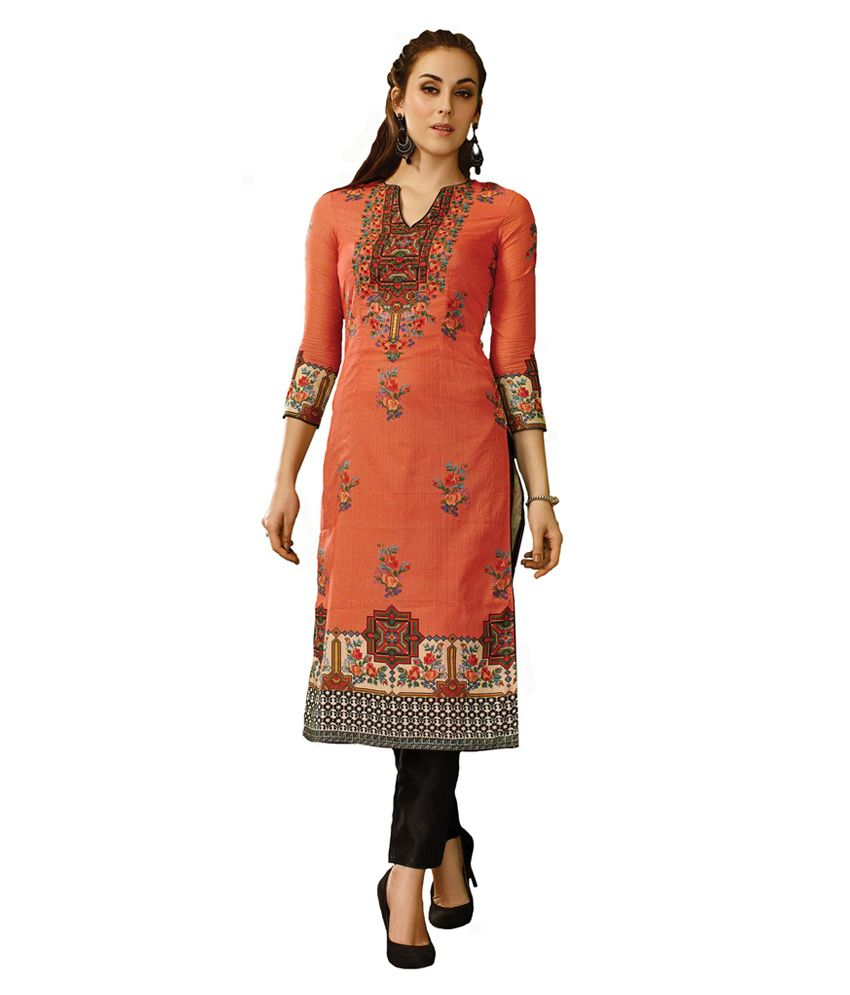 Inddus Orange Cotton Unstitched Dress Material
