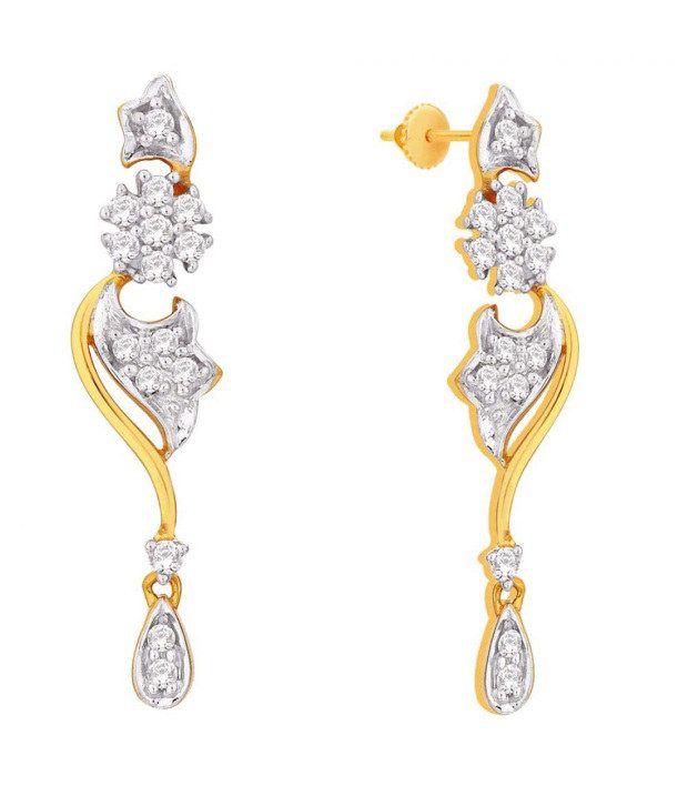 Sangini 18KT IGI Contemporary Diamond Drop Earrings