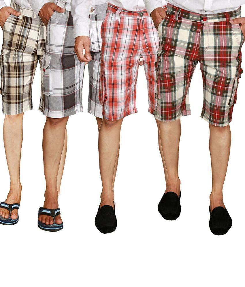 Wajbee Checkered Men's Shorts in Beige, Gray, Light & Dark Red (Pack of 4)