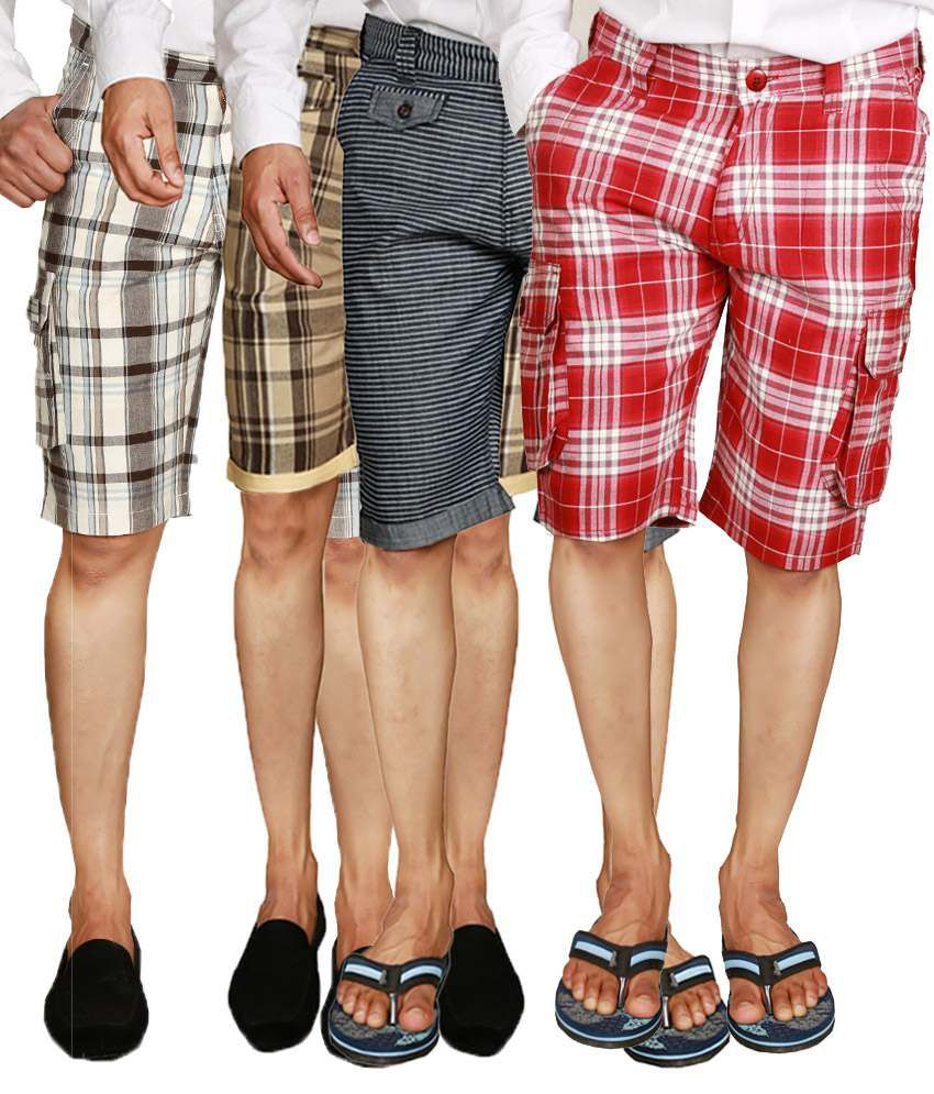 Wajbee Checkered Men's Shorts in Red, Black, Light & Dark Beige (Pack of 4)