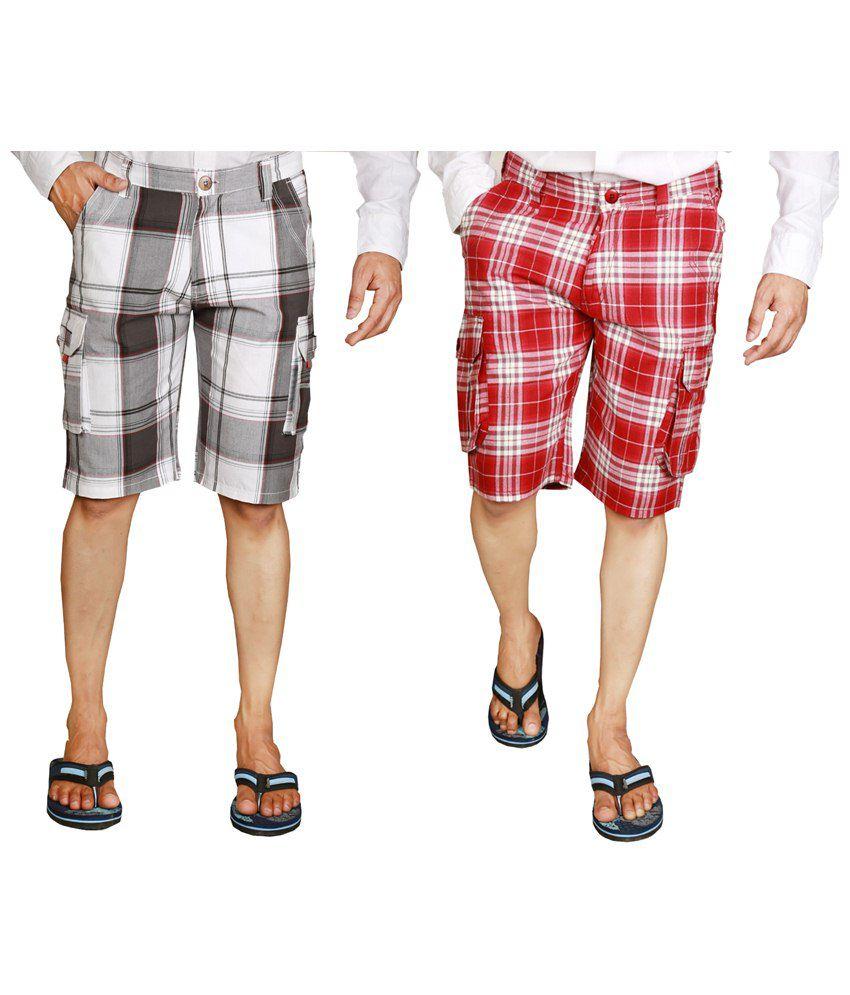 Wajbee Fashionable Combo of 2 Gray & Red Checkered Bermuda Shorts for Men