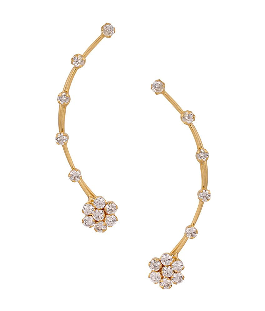 Archi Collection Style Diva White Alloy Designer Gold Plated CZ Earcuff Earrings