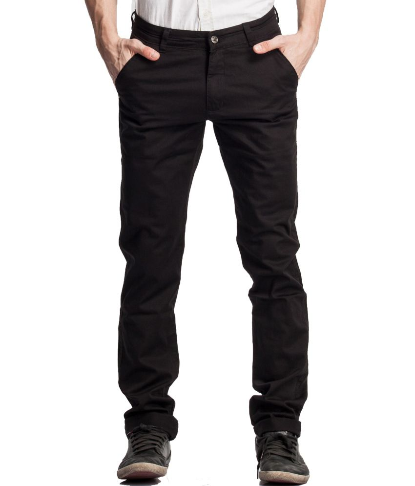 Beevee Black Cotton Regular Fit Casual Chinos