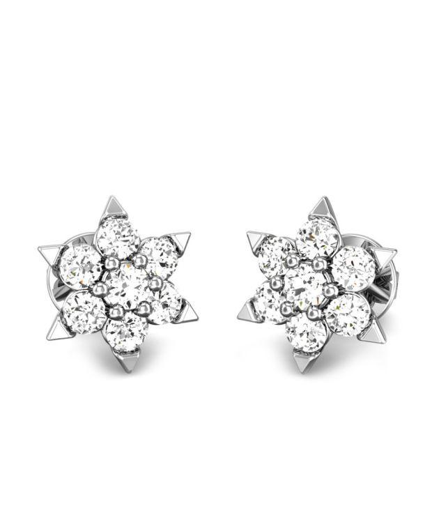 Candere Kashish White Gold 14K Diamond Earing