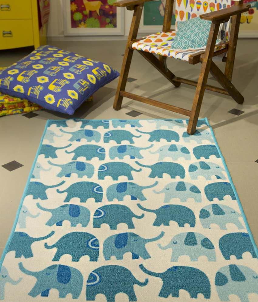 Chumbak Beige U0026 Teal Funky Elephant Rug ...