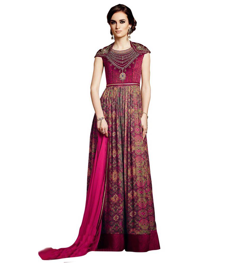 Haute culture pink viscose semi stitched dress material for Haute culture