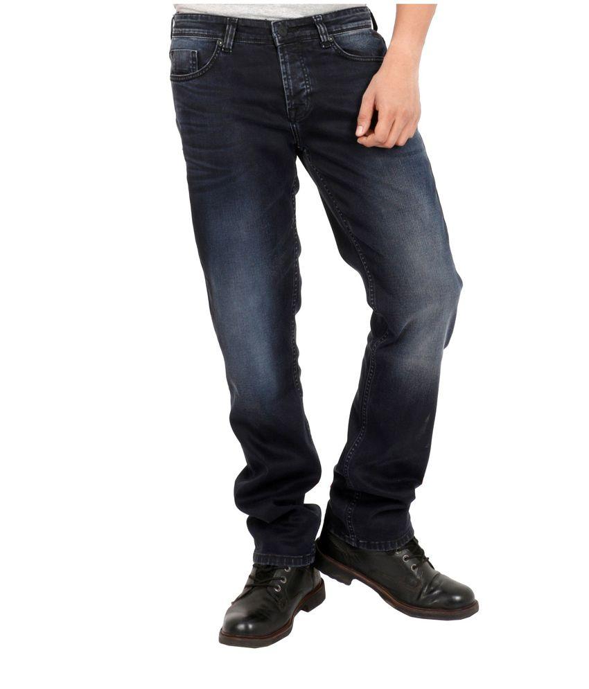 Killer Black Cotton Blend Faded Jeans