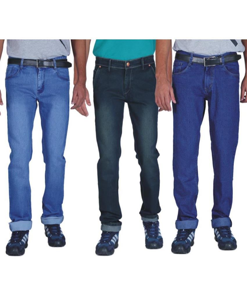 Ally Of Focker Blue Cotton Blend Slim Mid Rise Stretchable Jeans - Combo Of 3