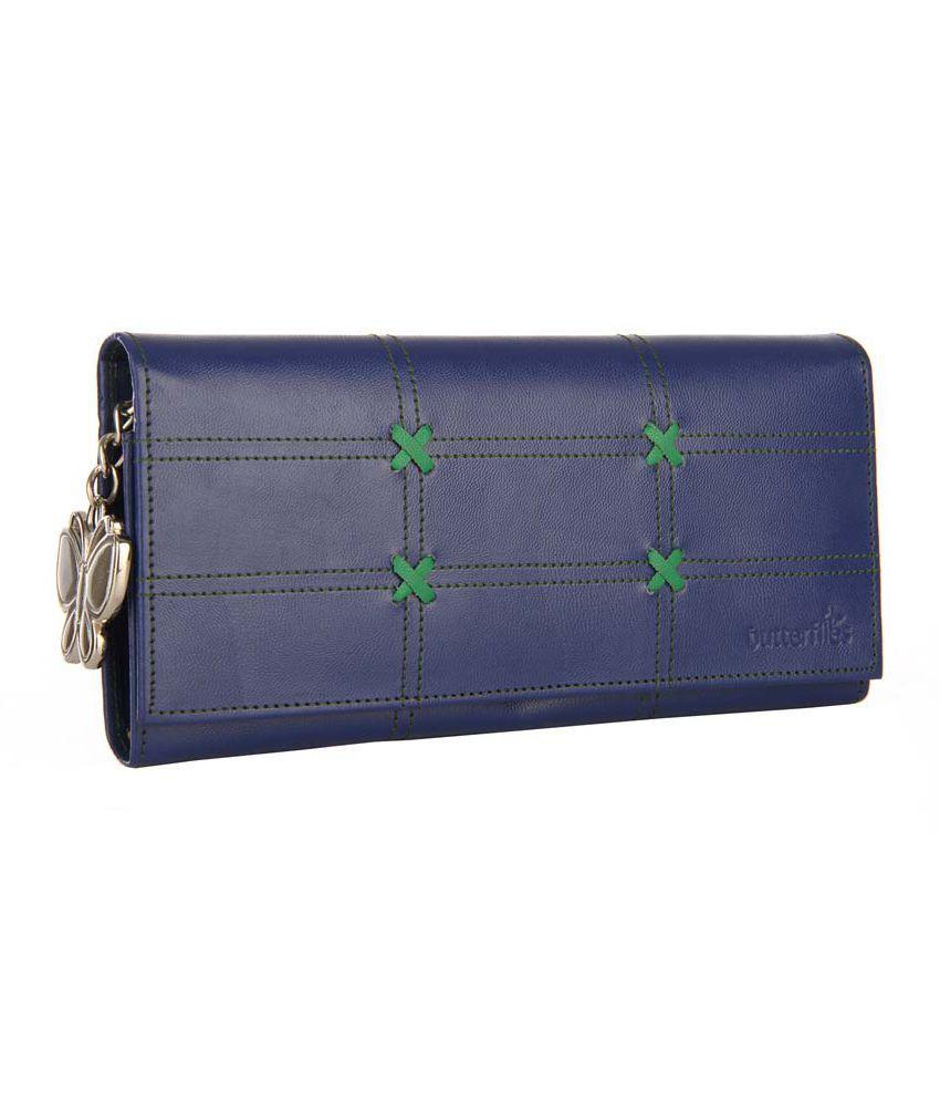 Butterflies Navy Blue Wallet with Green Designer Stich