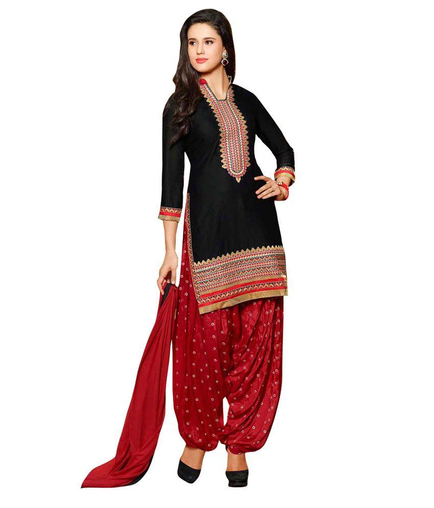 HP Creation Black Cotton Unstitched Dress Material