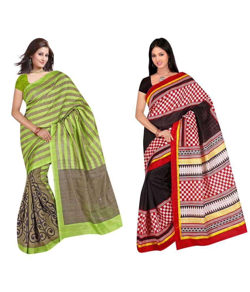Indianefashion Multi Bhagalpuri Silk Pack of 2