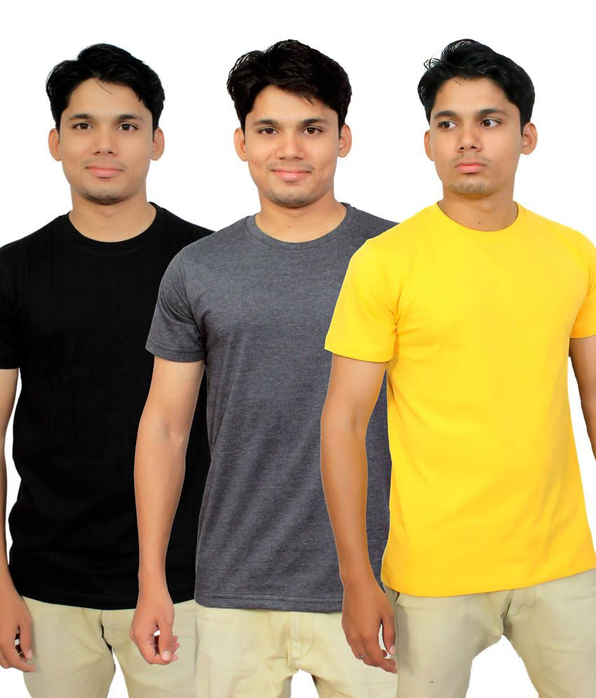 Megsto Black, Gray and Yellow Cotton Half Sleeves Round Neck T Shirt - Combo of 3