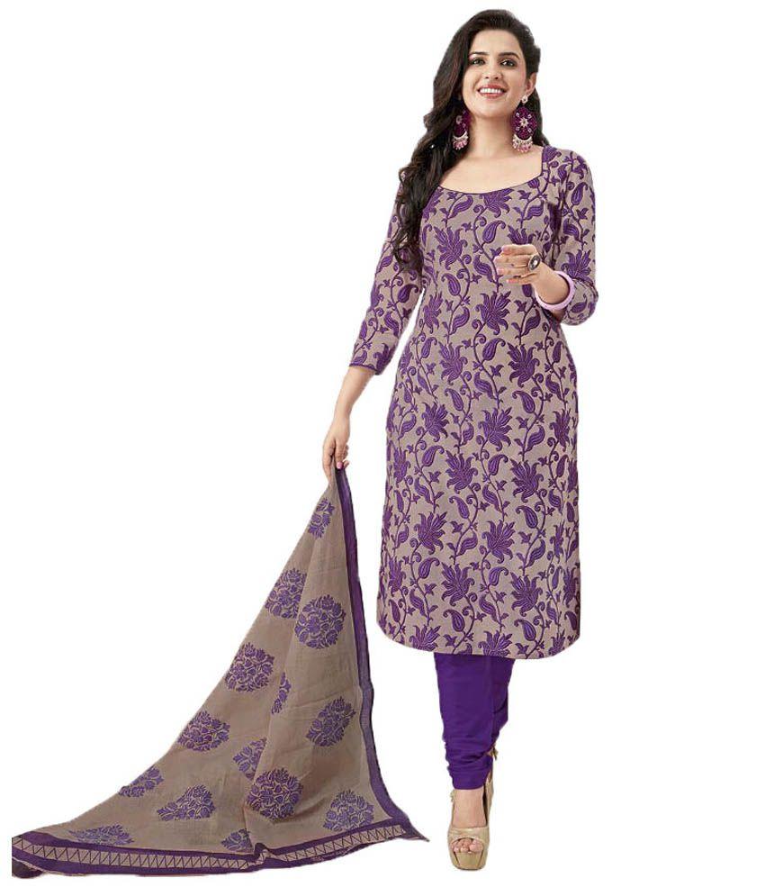 Party Wear Dresses Purple Cotton Unstitched Dress Material - Buy ...