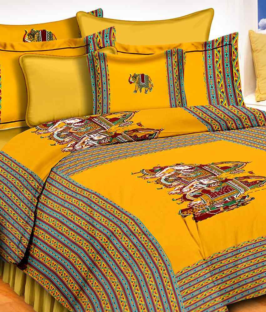 Traditional Bedsheet With Pillow Cover : Rung Yellow Traditional Double Bedsheet With 2 Pillow Cover - Buy Rung Yellow Traditional Double ...