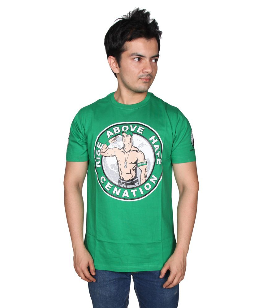 Attitude U Cant See Me Green Printed Cotton T - Shirt