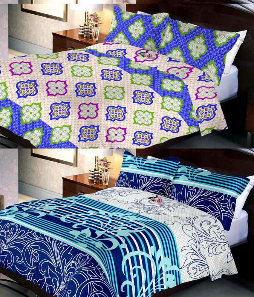 Indien Casa Multicolor Cotton 2 Bed Sheet With 4 Pillow Cover