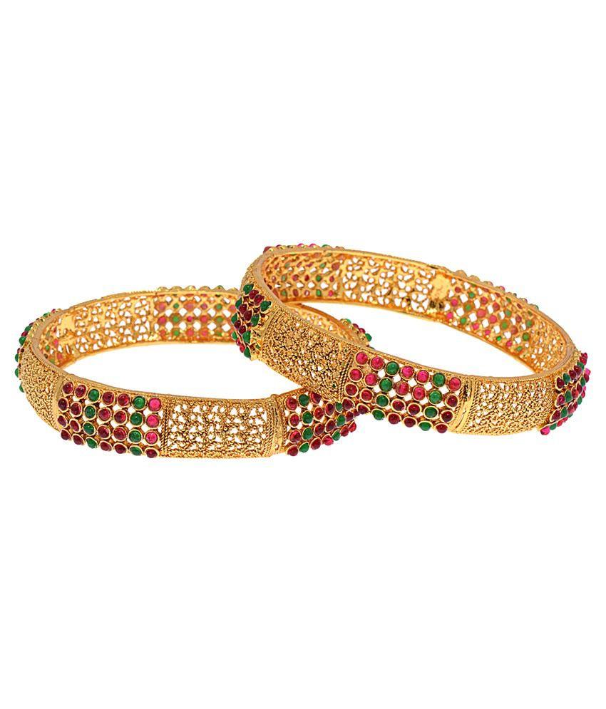 Alankruthi Golden Brass and Copper Bangle Set