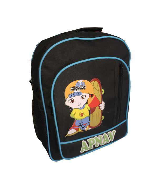 Apnav Polyester Black Kids School Bag