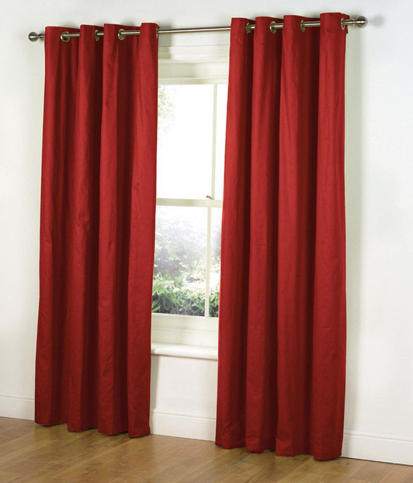 Parda Plus Set Of 10 Door Eyelet Curtains Solid Red Buy