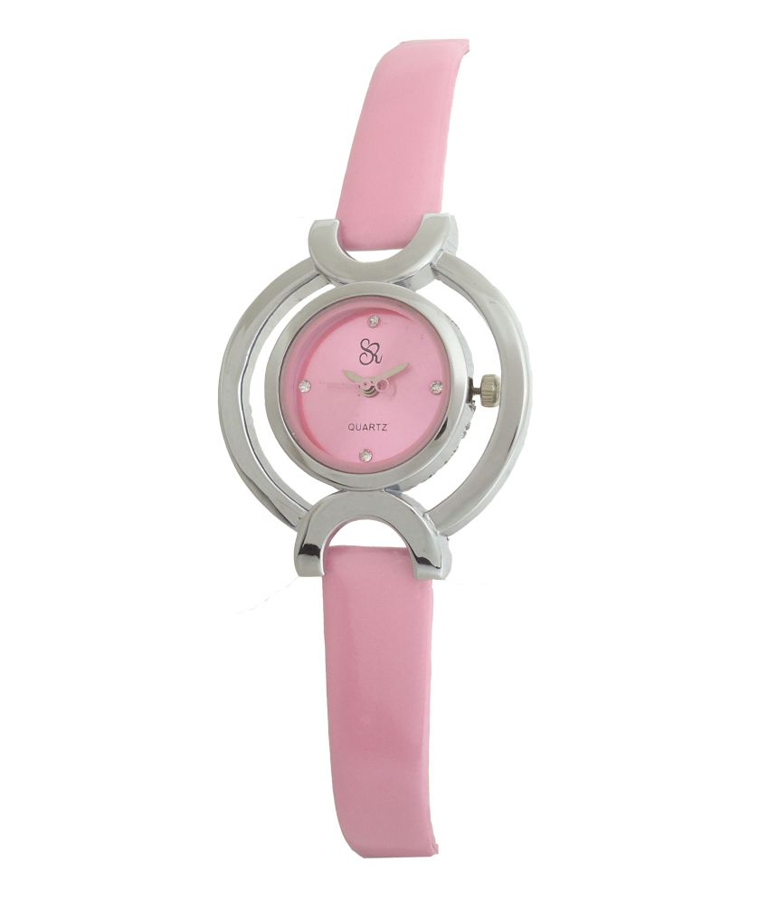 S R COLLECTION S R Collection Pink Leather Formal Analog Watch