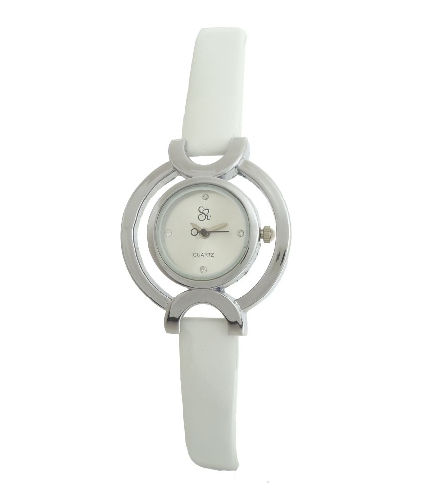 S R Collection S R Collection White Leather Formal Analog Watch