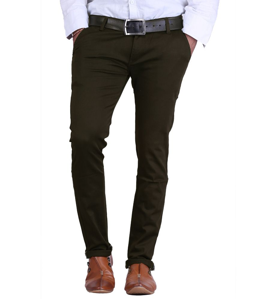 AVE Cotton Lycra Dark Green Formal Trousers
