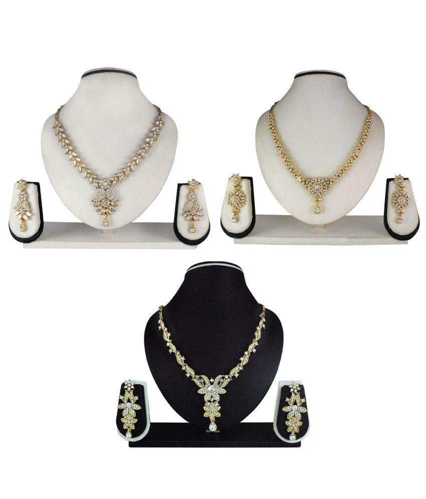 Atasi International White Bridal Alloy Necklace Set