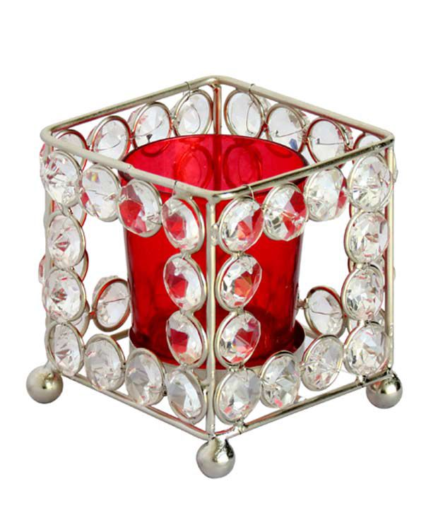 Pindia Home Decor Fancy Square Crystal T-lite Candle Stand Holder