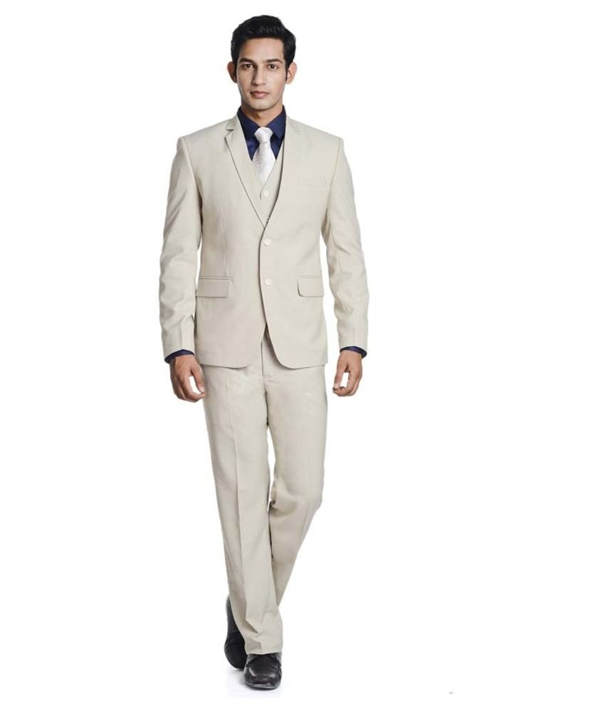 Promi Knitwear Beige Formal Suit