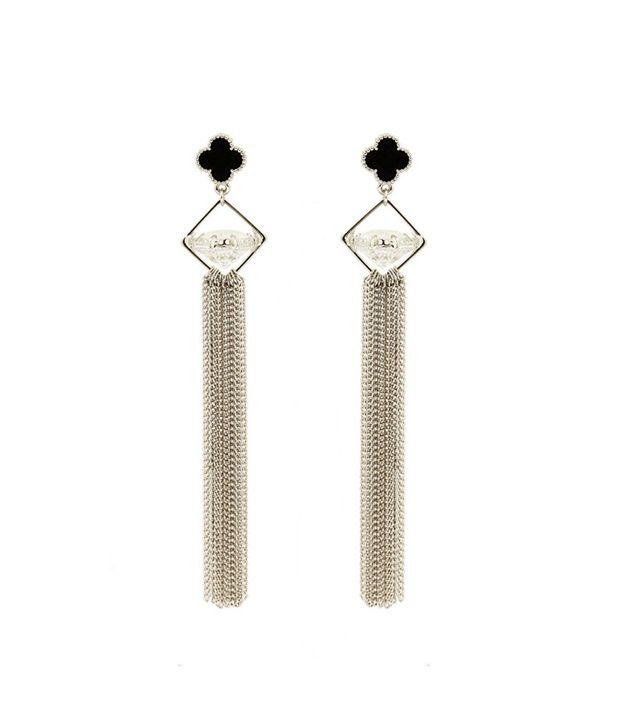 Saashi's Closet Black Wedding & Engagement Crystal Hanging Earrings