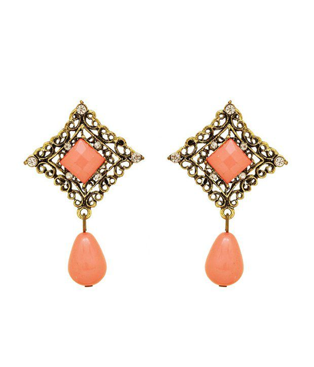 Saashi's Closet Orange Wedding & Engagement Crystal Hanging Earrings