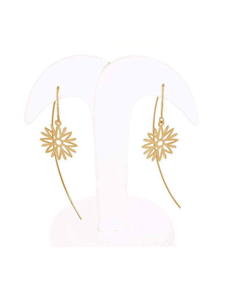 Thingalicious Earring Long Gold Dangler Flower Needle Thread Type