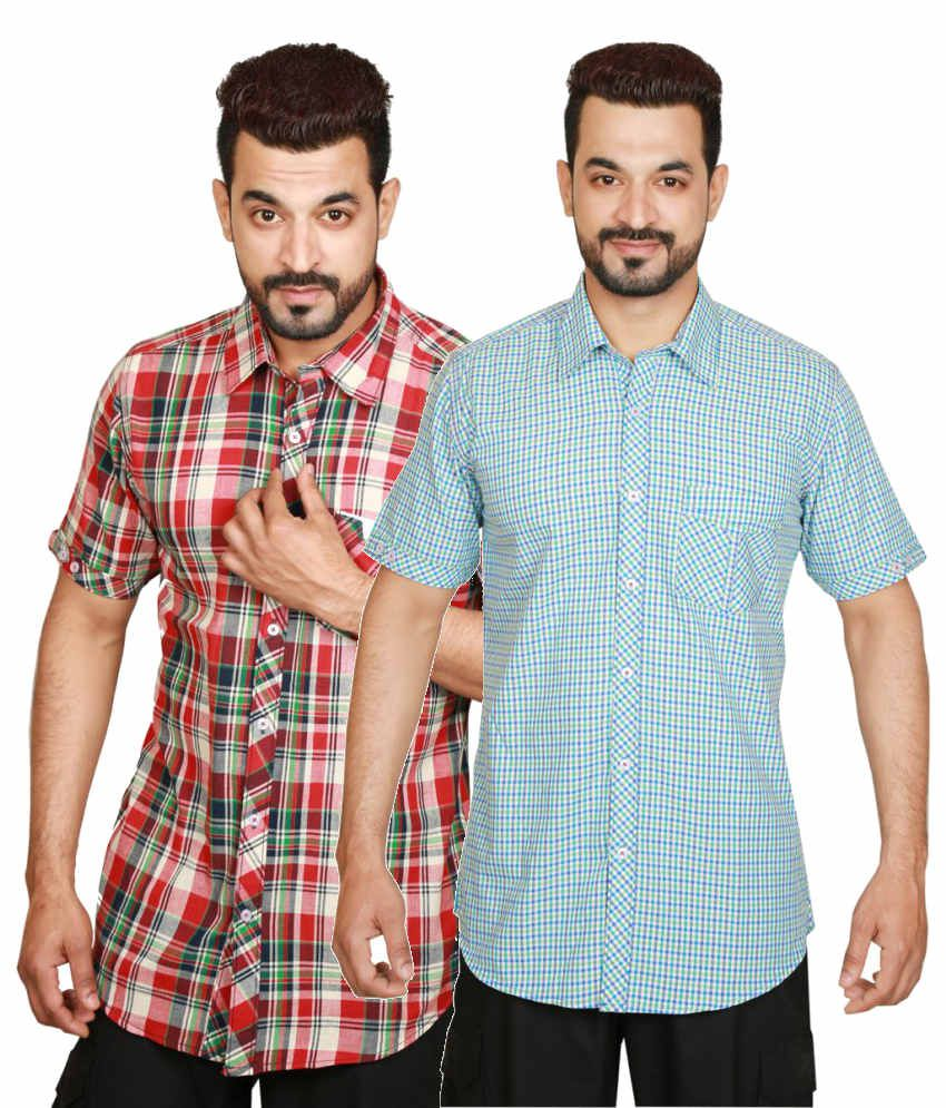 Wajbee Combo of Red and Blue Cotton Shirts