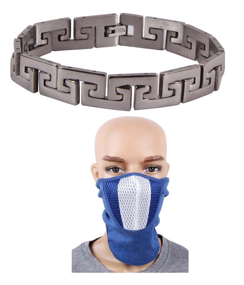 Jstarmart Circle Of Life Designer Silver Bracelet And Face Mask Combo