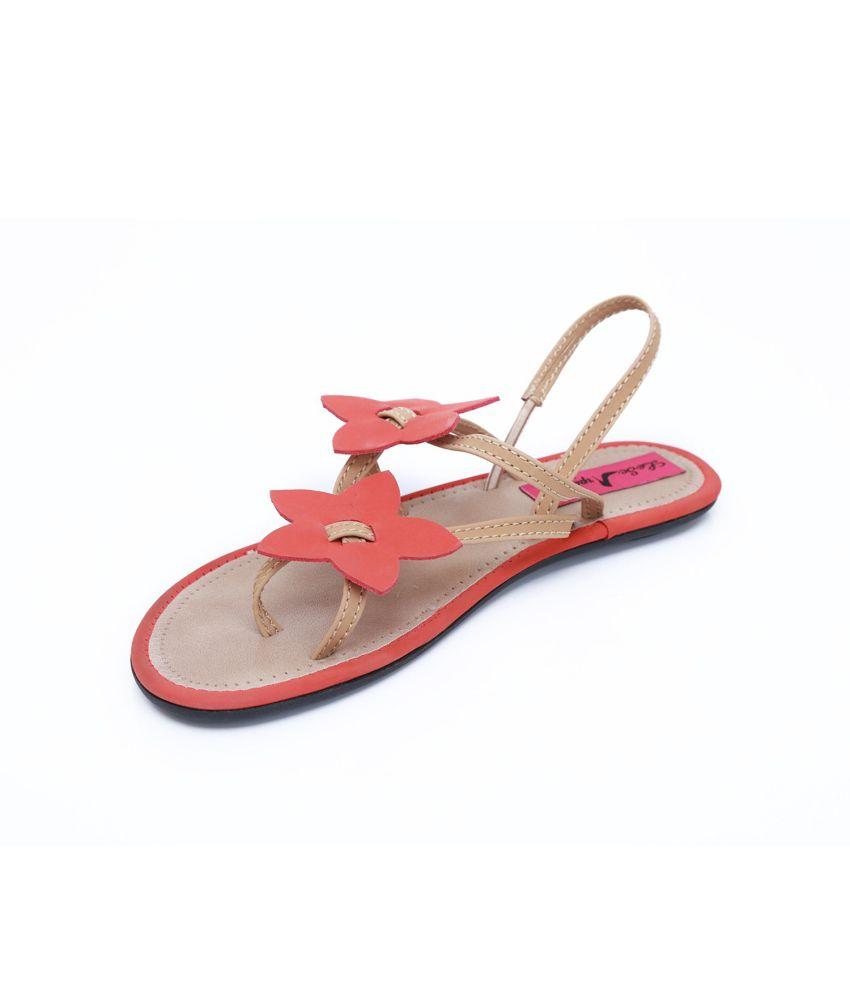 Le Scarpe Red Flat Sandal