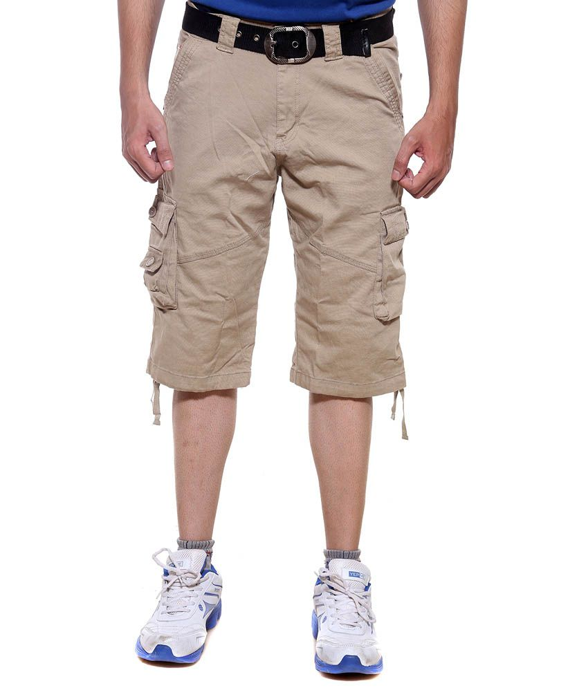 Sports 52 Wear Khaki Cotton Three Fourth