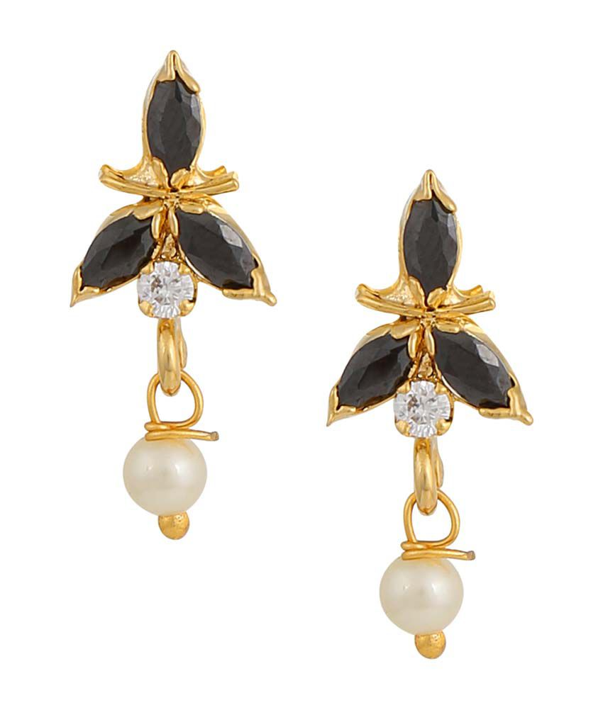 Archi Collection Black Alloy CZ Push Back Stud Earrings