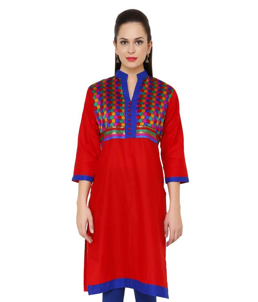Jainish Red Cotton Kurti