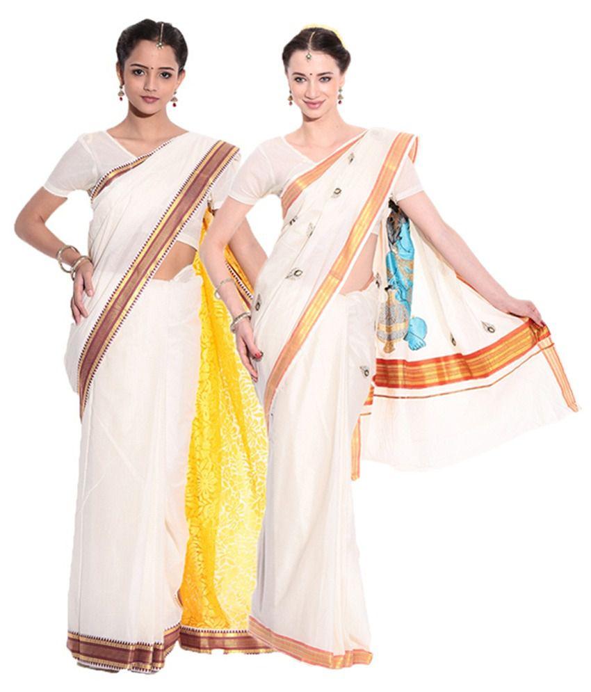 Fashion Kiosks Kerala Kasavu White Cotton Saree with Matching Blouse (Pack of 2)