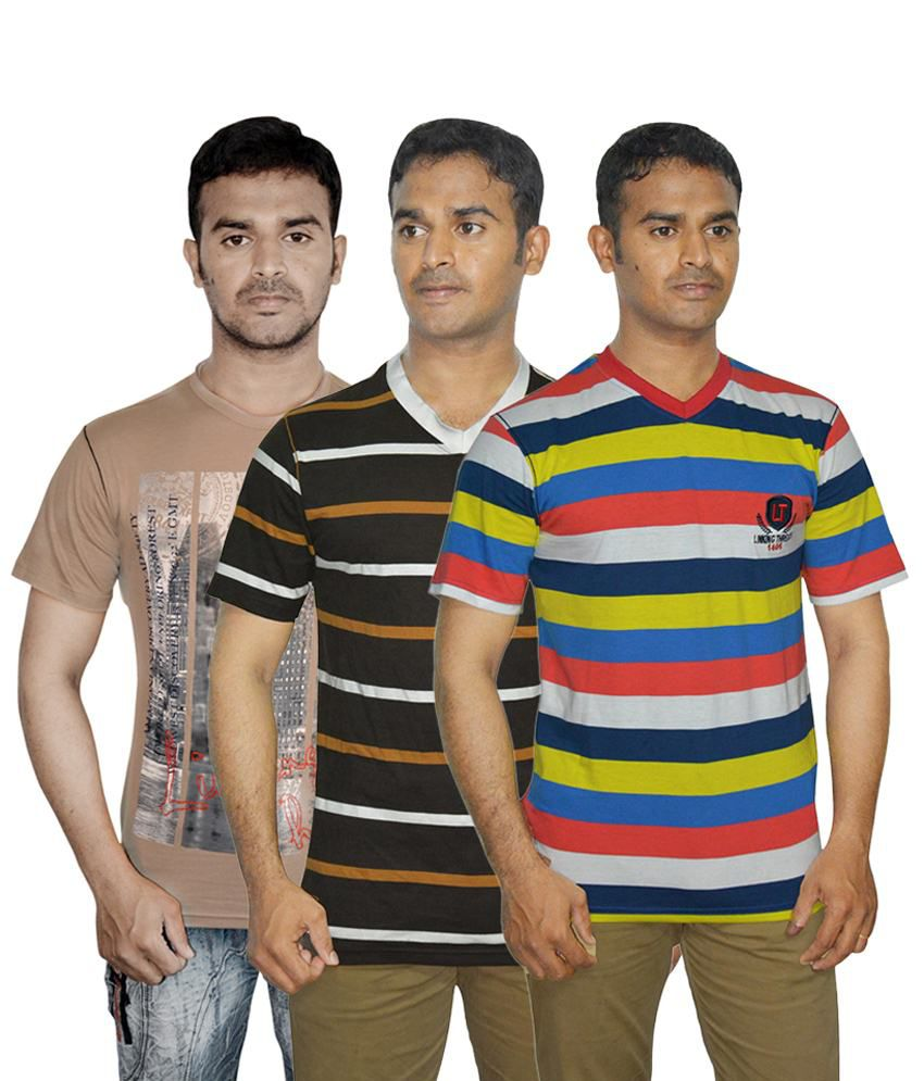 Linking Threads Modish Red, Brown & Beige Pack of 3 T Shirts for Men