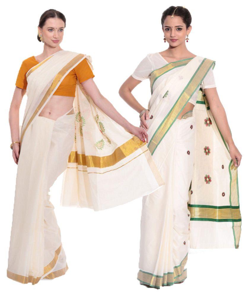 Fashion Kiosks Combo of Offwhite Kerala Kasavu Cotton Sarees with Matching Blouse (Pack of 2)