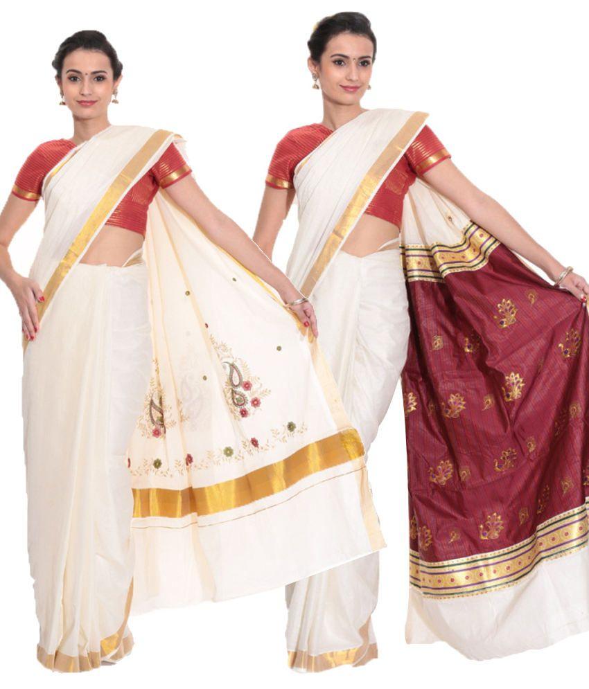 d9e607e33f Fashion Kiosks Combo of Offwhite and White Kerala Kasavu Cotton Sarees with  Matching Blouse (Pack of 2) - Buy Fashion Kiosks Combo of Offwhite and White  ...