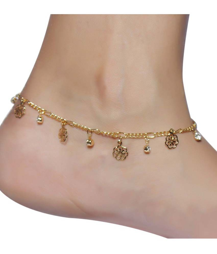 Much More Floral Gold Plated 1 Pair Anklet