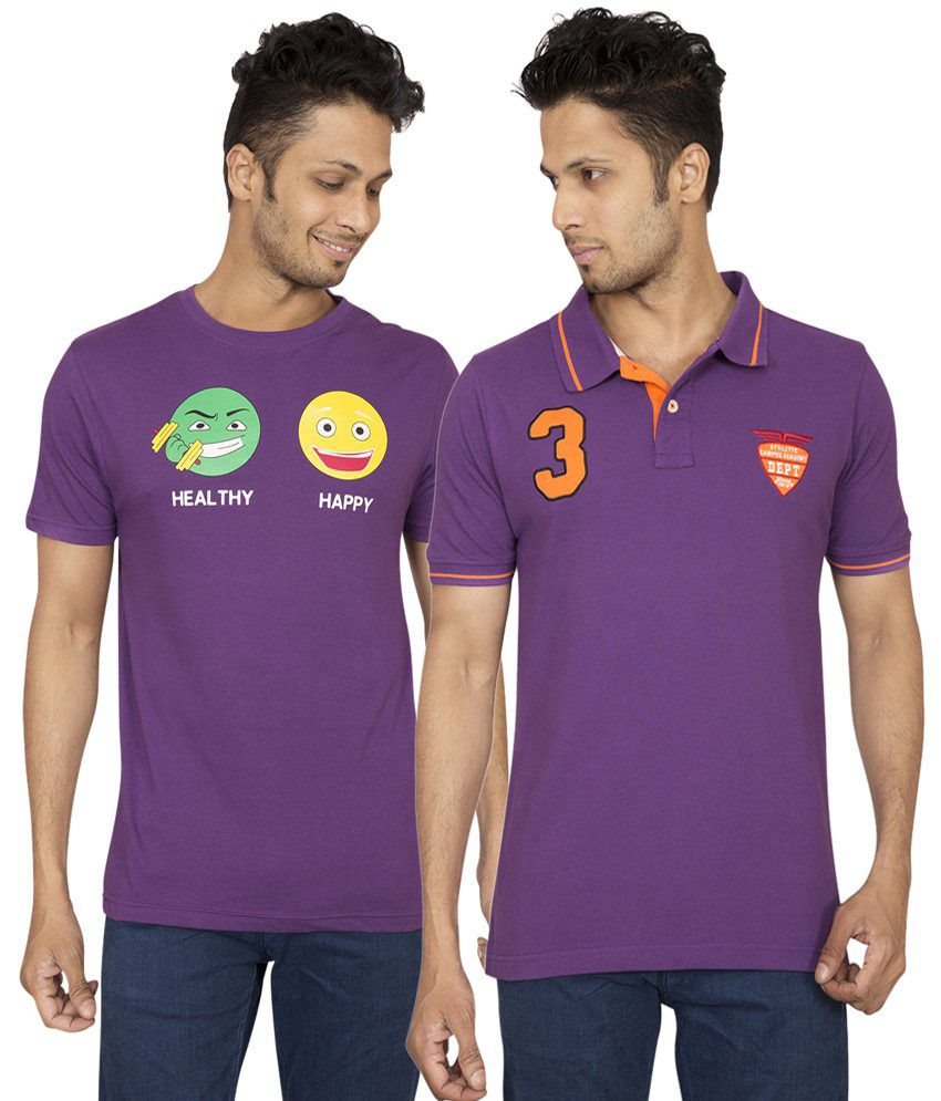 Red Line Alluring Set of Purple Round Neck T Shirt & Polo T Shirt for Men