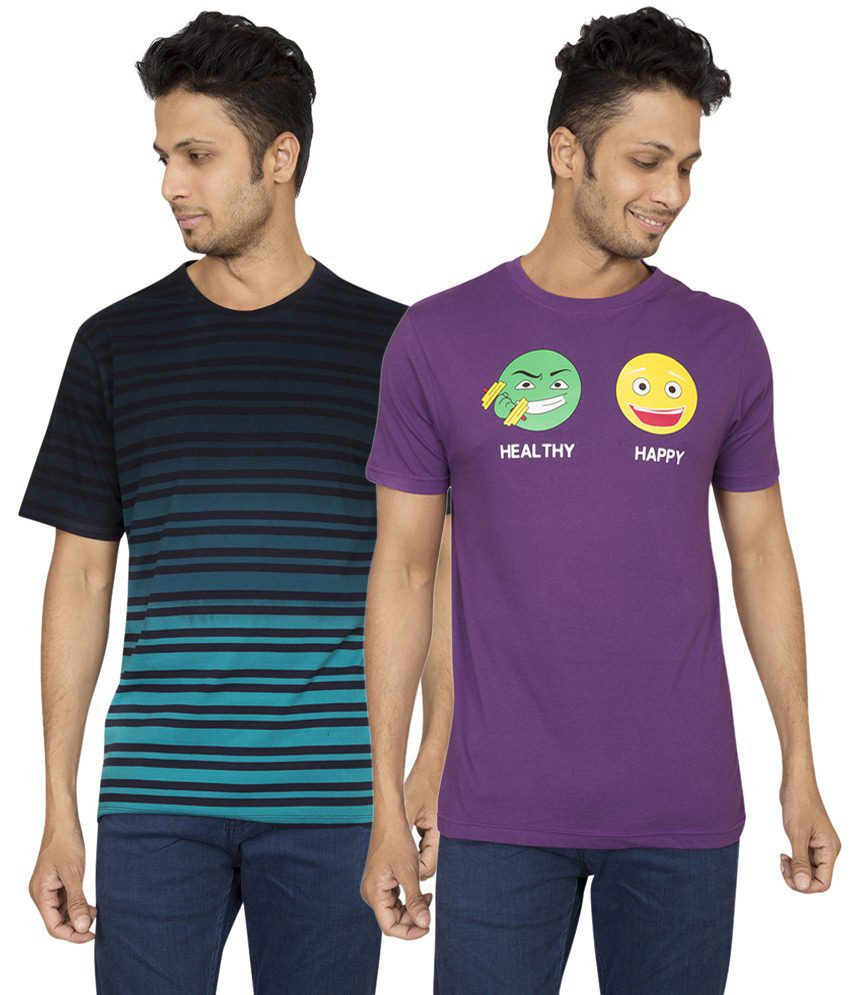 Red Line Valuable Pack of 2 Purple & Blue Round Neck T Shirts for Men