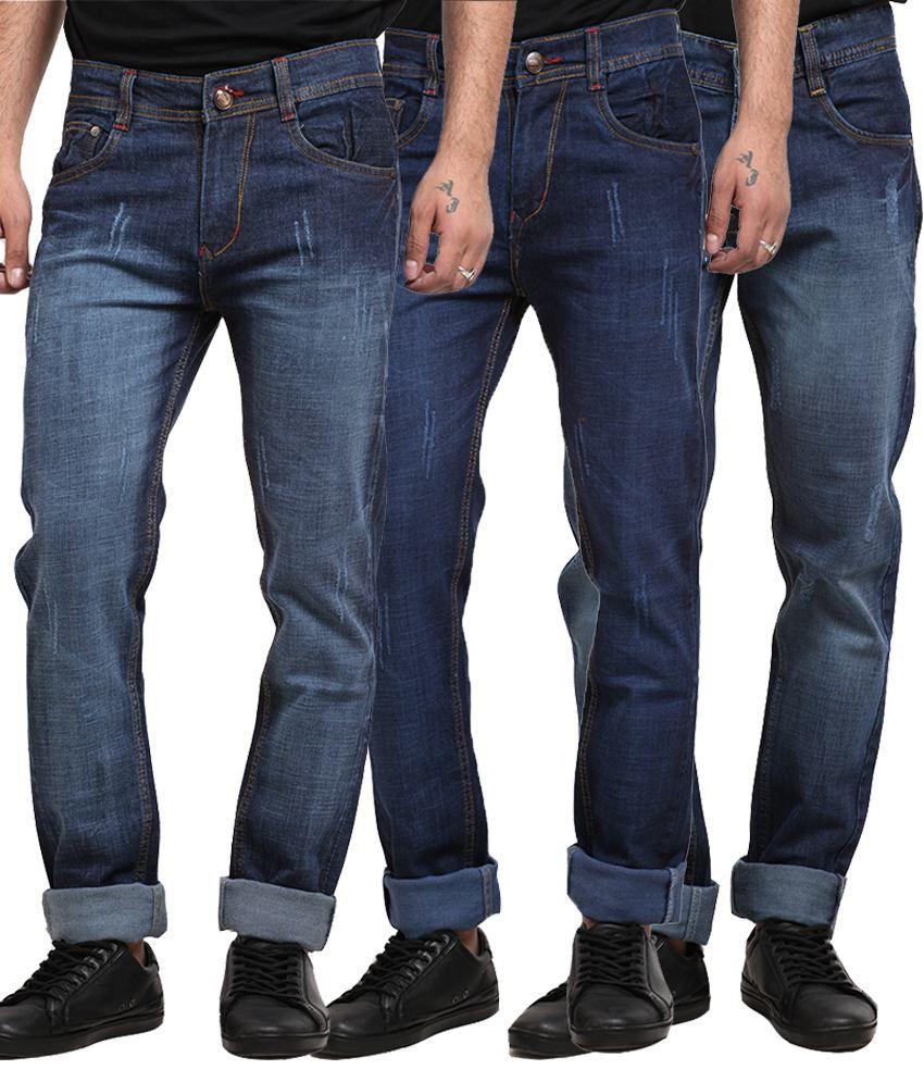 X-cross Multicolour Cotton Blend Regular Fit Jeans - Set of 3
